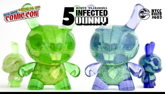 """NYCC 16 EXCLUSIVE: Scott Wilkowski's Infected 5"""" Dunny. Lavender and Sour Apple editions."""