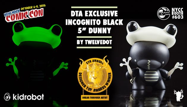 "NYCC 16 DTA EXCLUSIVE:  5"" Black Incognito Dunny by twelveDot!"