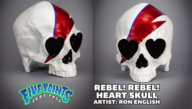 REBEL! REBEL! HEART SKULL by Ron English!