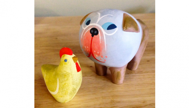 Resin Bulldog and Chicken from Amanda Visell
