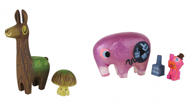 Switcheroo Mossy Wood Llama & Toadstool and Pink Elephant & Drunky