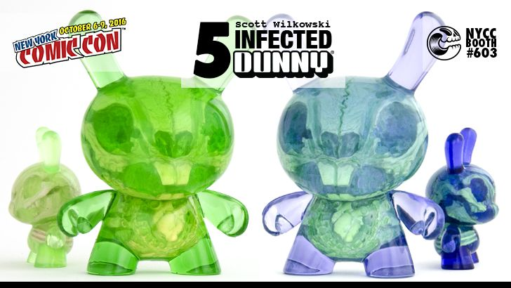 "NYCC 16 EXCLUSIVE: Scott Wilkowski's Infected 5"" Dunny. Lavender and Sour Apple editions."