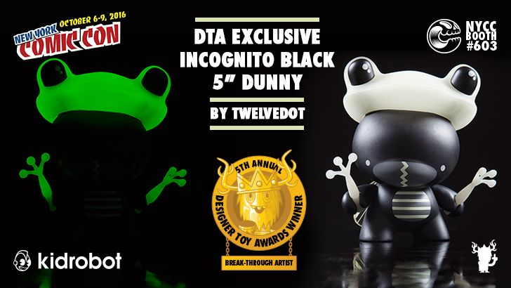 """NYCC 16 DTA EXCLUSIVE:  5"""" Black Incognito Dunny by twelveDot!"""