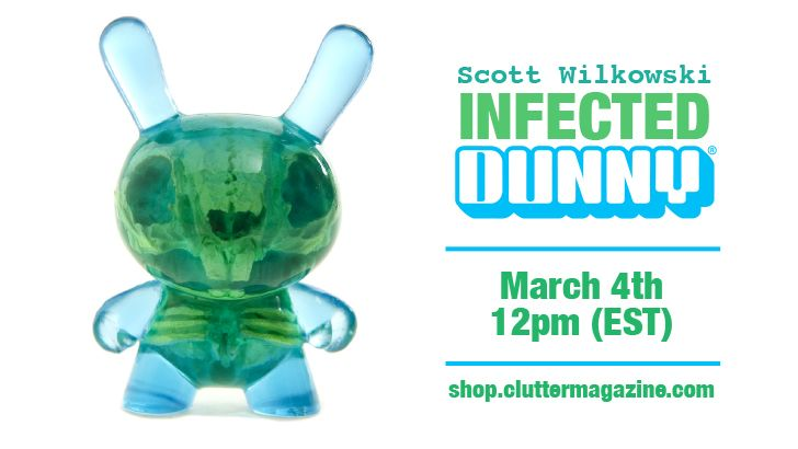 Scott Wilkowski x Clutter x Kidrobot; INFECTED DUNNY - Blue & Green Colorway!