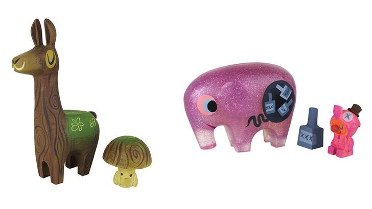 Switcheroo Mossy Wood Llama & Toadstool and Pink Elephant & Drunky